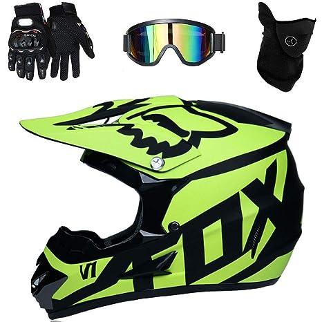 Guanti//Maschera//Occhiali Casco da Cross per Casco da Cross per Motociclisti ATV ADV UTV Sport di Resistenza off-Road