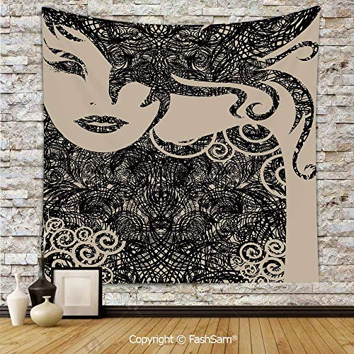 (FashSam Tapestry Wall Hanging Woman with Cool Posing Wavy Sexy Hot Hair and Vamp Makeup Image Print Tapestries Dorm Living Room)