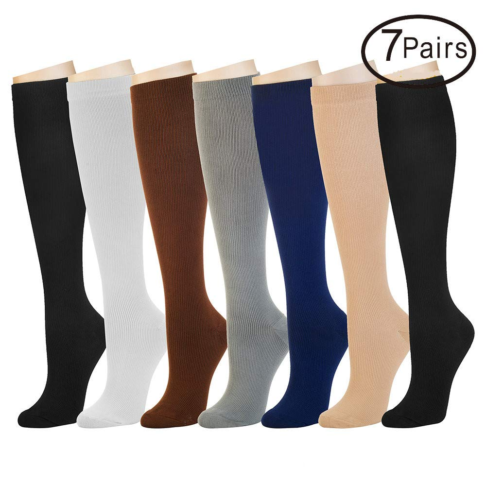 7 Pairs Compression Socks For Women and Men -- Best Athletic, Edema, Diabetic,Varicose Veins,Maternity,Travel,Flight Socks ,Shin Splints - Below Knee High (Large/X-Large, Assort 1)