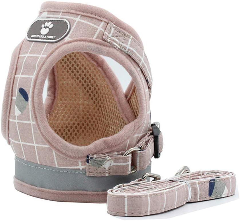 BLEVET Ajustable Harnais Gilet Rembourr/éR/éfl/échissant Doux Respirant Confortable Laisse pour Petit Chien Chiot MZ083 S, Pink