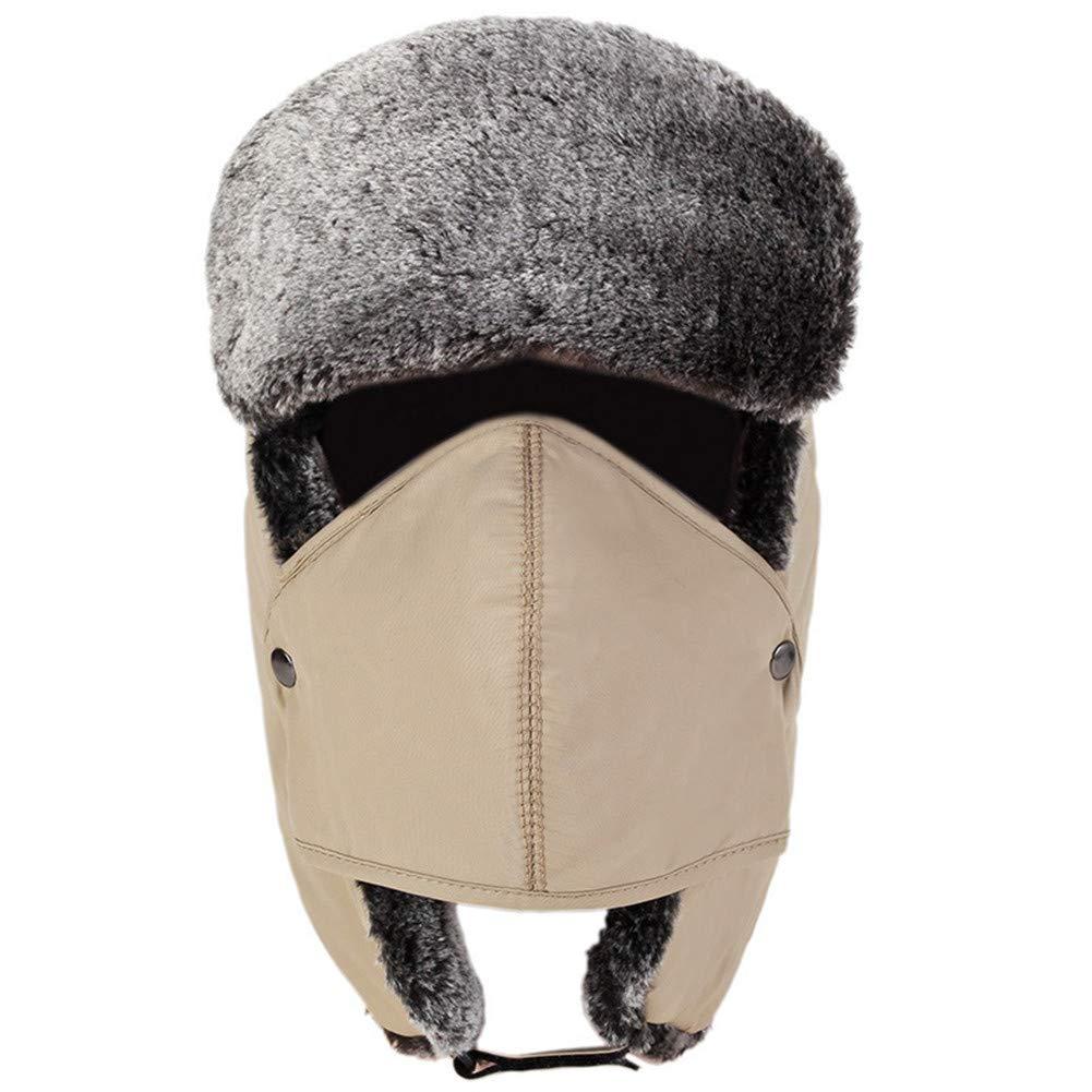 SK Studio Unisex Fliegermütze mit Ohrenklappen Outdoor Kunstfell Bomber Hut Ushanka Trappermütze Wintermütze mit Maske SK-LWFS-LW650-6