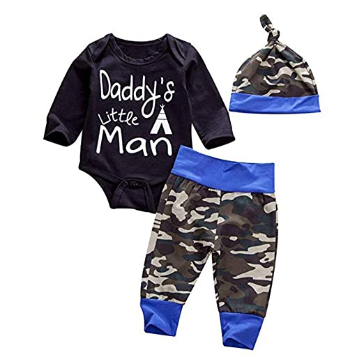 df19a87ebdd49 YOUNGER TREE Newborn Baby Boys Clothes Daddy's Little Man Print Romper  +Camo Cotton Long Pants +Hat Outfit