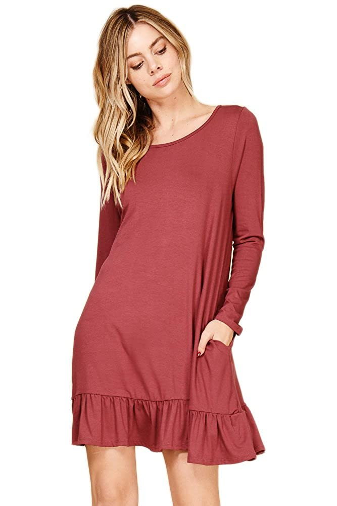 dcd84d6950f Casual Fitted T-Shirt Mini Dress Stretch Irregular Draped Dress Tunic Style  Short Ruffle Bottom Flowy Swing Dress Lightweight Two Handy Side Pockets  Summer ...