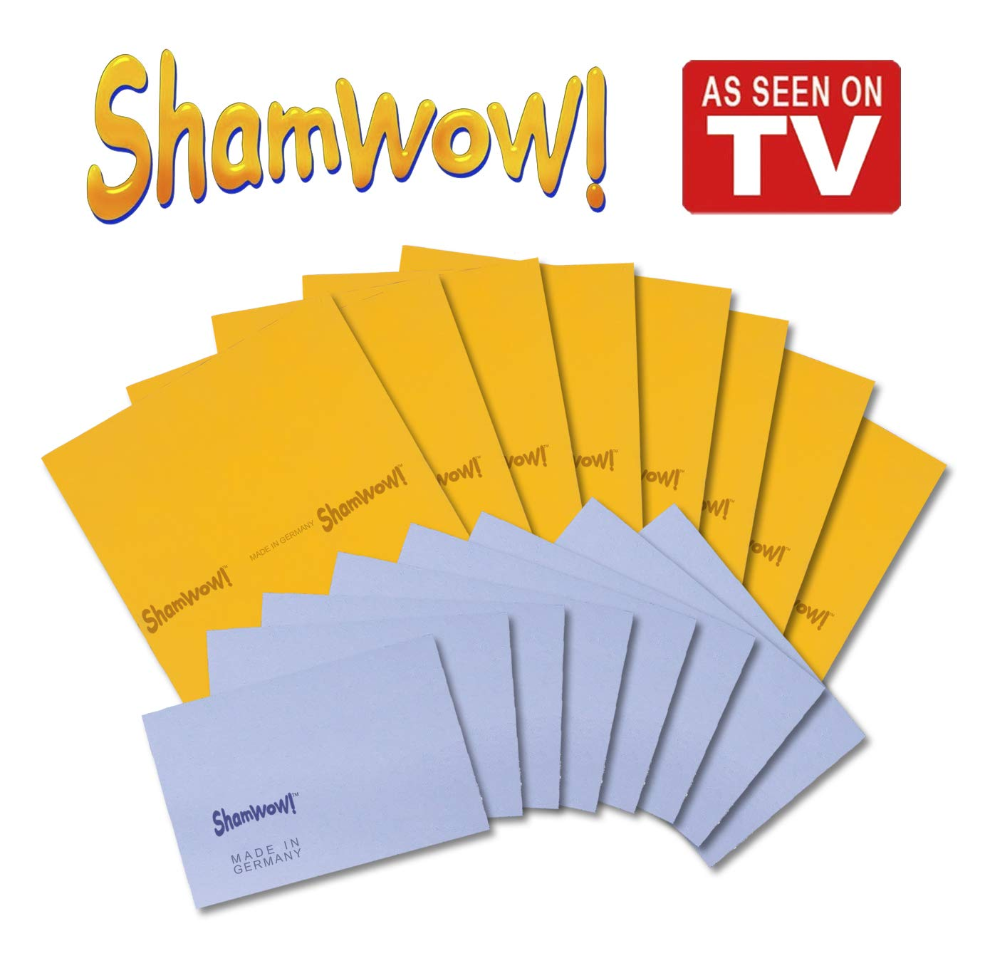 The Original Shamwow - Super Absorbent Multi-Purpose Cleaning Shammy (Chamois) Towel Cloth, Machine Washable, Will Not Scratch (16 Pack: 8 Large Orange and 8 Small Blue)
