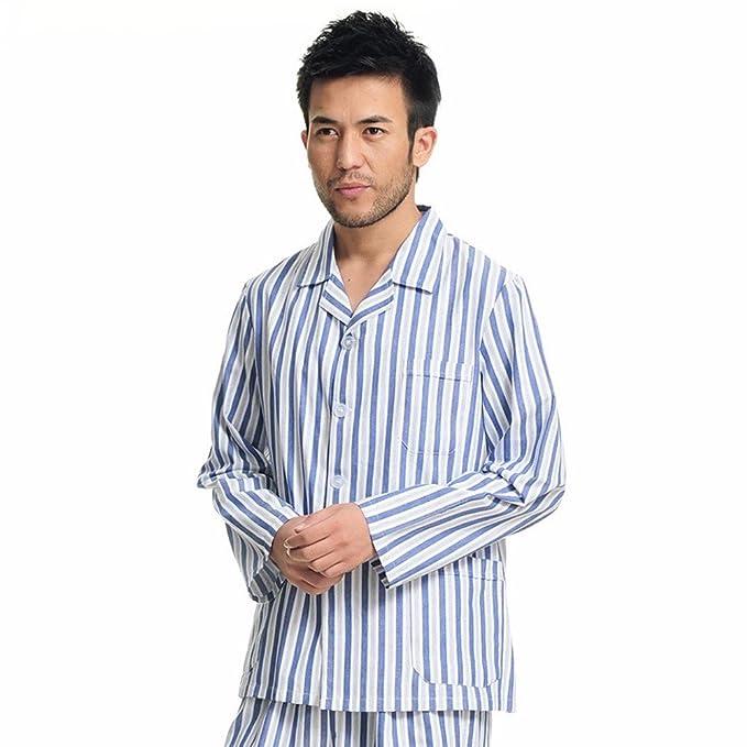 Xuanku Varón Vestido De Manga Larga De Algodón Traje Ropa para Dividir Los Pijamas Ropa Hospitalaria Antibacteriana Confort: Amazon.es: Ropa y accesorios