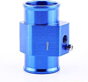 Universal Water Temp Joint Pipe, Keenso Aluminum Water Temp Temperature Joint Pipe Sensor Gauge Radiator Hose Adapter, Blue 26mm - 40mm (38mm)