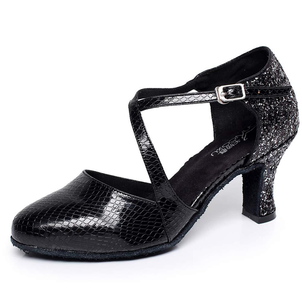 XIAOY Latein Tanzschuhe für Damen Pointed Toe Leder PU Kreuz Gurt High Heel 6CM