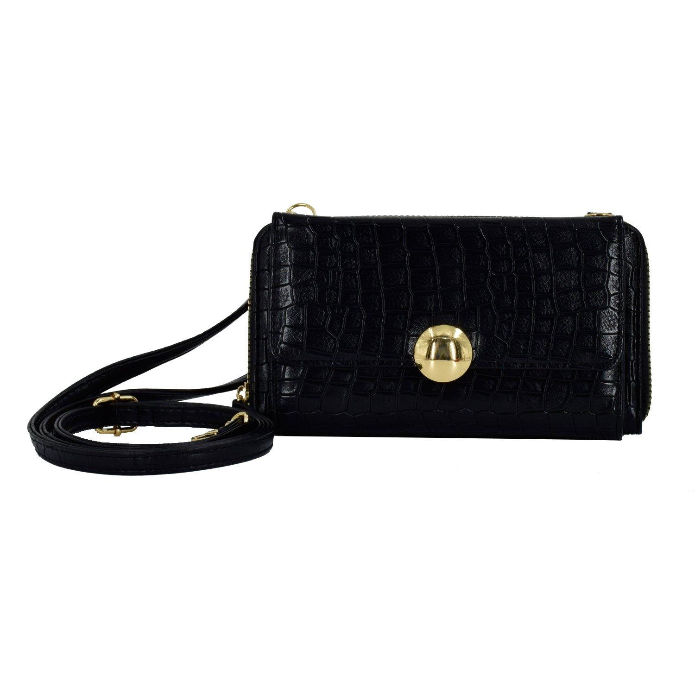 ESA Mini Crossbody Bag for Women Vegan Leather Zip Around Pratical Phone Wallet RFID Blocking Detachable Strap (Black)