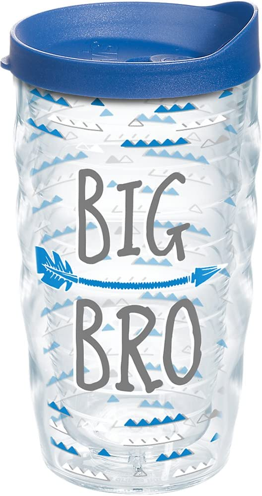 Tervis 1247239 Big Bro Tumbler with Wrap and Blue Lid 10oz Wavy, Clear