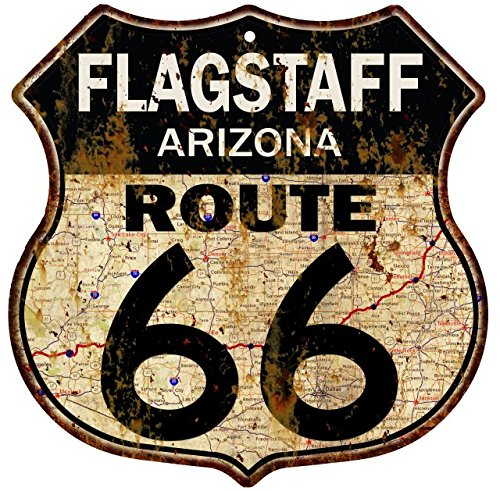 Great American Memories Flagstaff, Arizona Route 66 Vintage Look Rustic 12x12 Metal Shield Sign S122042