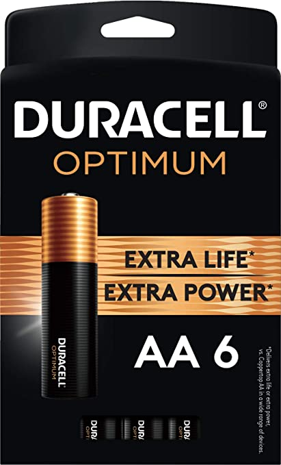 Amazon Com Duracell Optimum Aa Batteries 6 Count Pack Lasting Power Double A Battery Alkaline Aa Battery Ideal For Household And Office Devices Resealable Package For Storage Health Personal Care