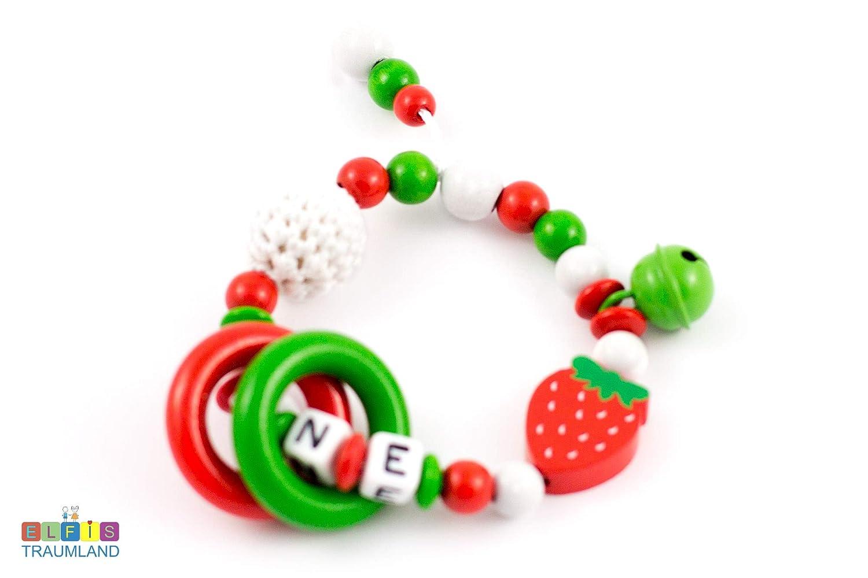 Greifring Rassel mit Namen // Mädchen // Erdbeere // rot grün weiß