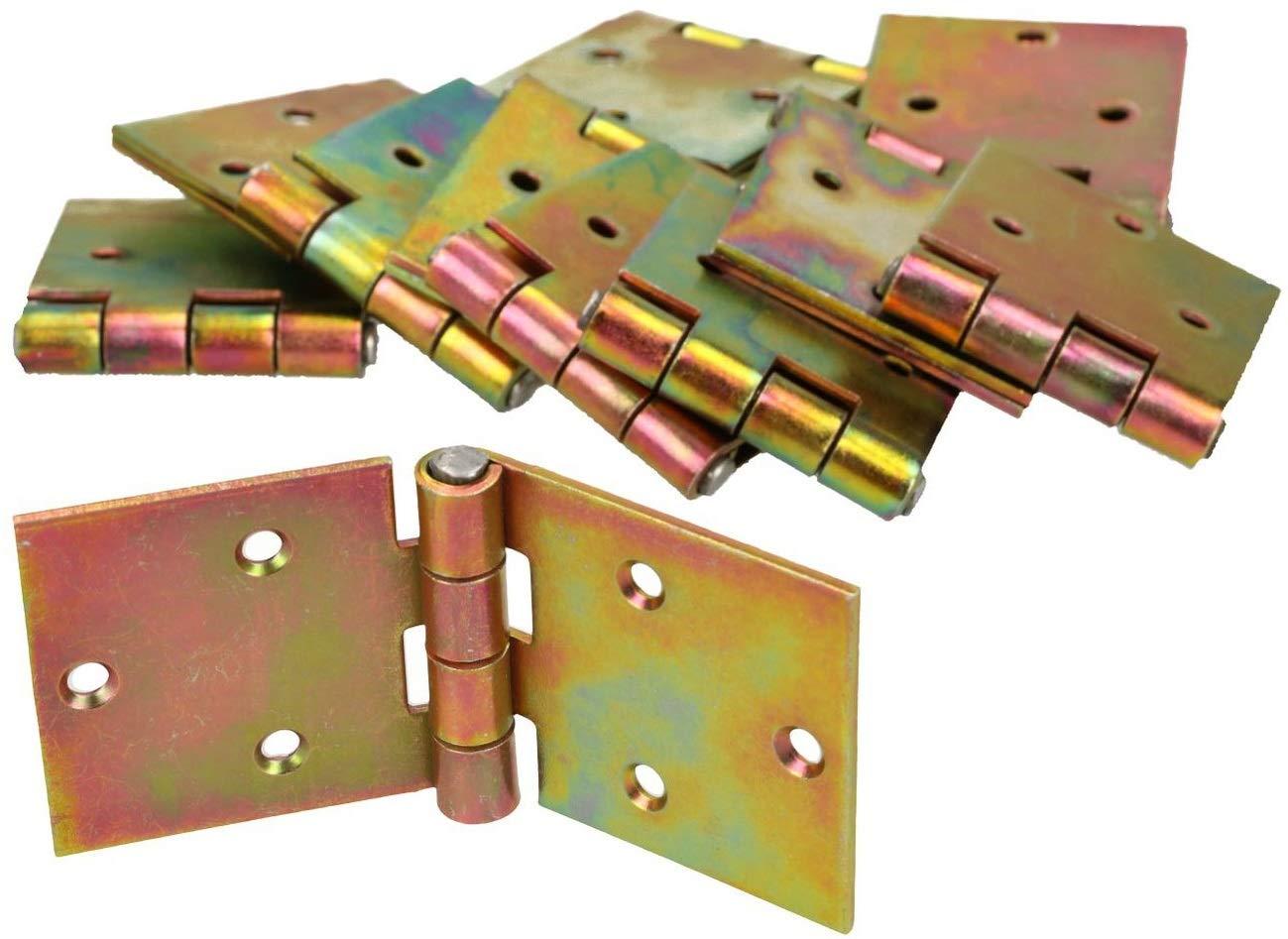 KOTARBAU Kistenband 100 x 50 mm 10 St Scharnier Gerollte Tischband M/öbelscharnier Verzinkt Gold Torband M/öbelband T/ürscharnier 2 Fl/ügel Top-Qualit/ät