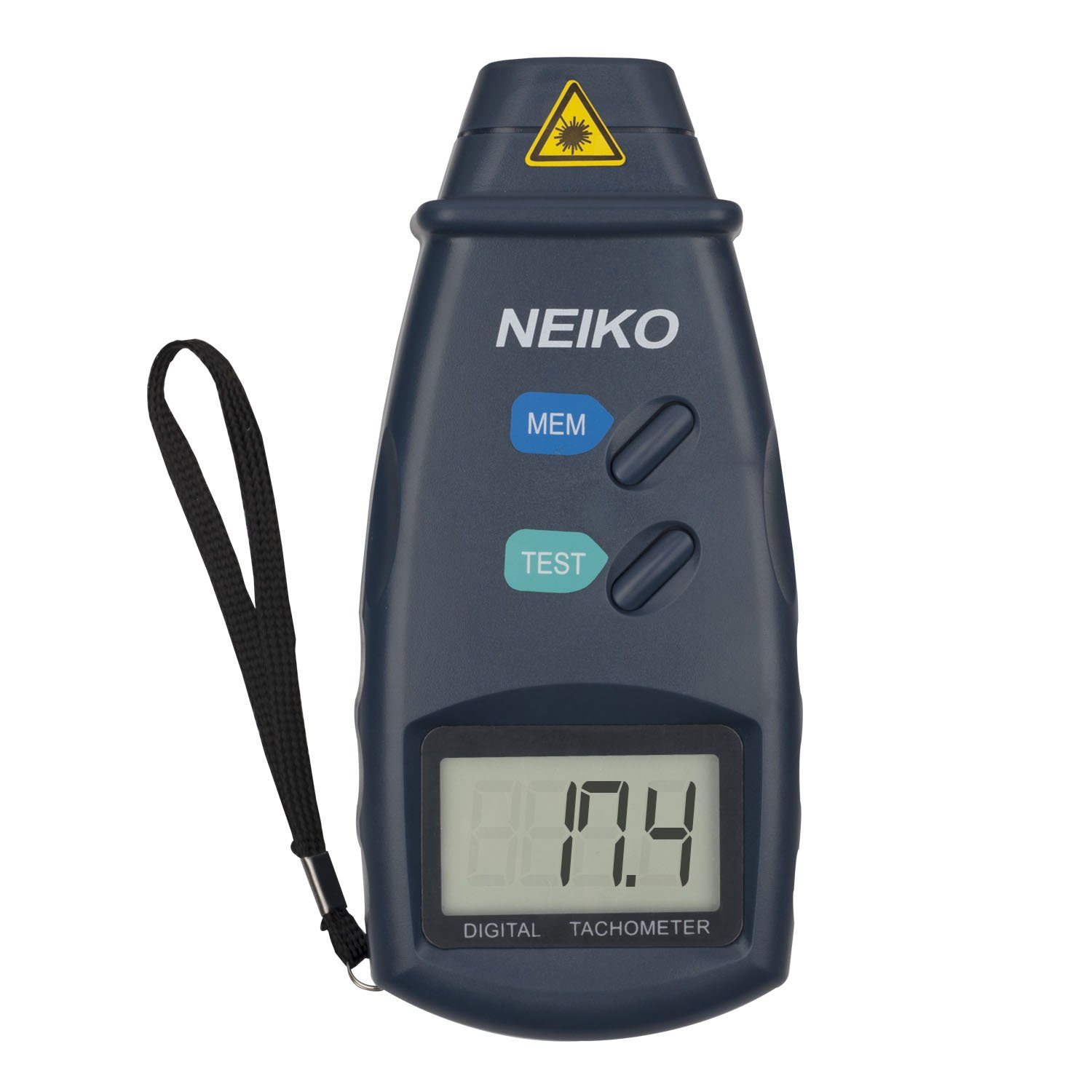 Neiko 20713A Digital Tachometer, Non Contact Laser Photo | 2.5 - 99,999 RPM Accuracy | Batteries Included