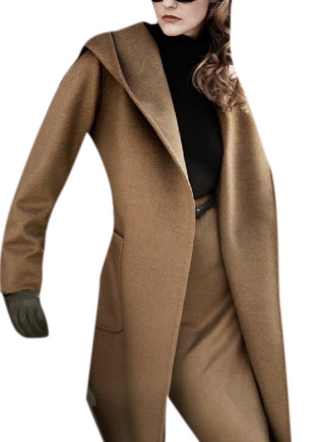 Lingswallow Women's Winter Wool Blend Belted Hood Elegant Warp Trench Coat Camel