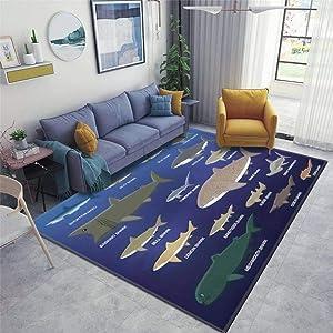 Home Area Runner Rug Pad Big Shark Size Comparison Cartoon Vector Illustration Thickened Non Slip Mats Doormat Entry Rug Floor Carpet for Living Room Indoor Outdoor Throw Rugs