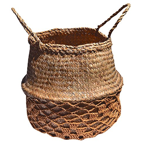 DUFMOD Small Natural Net Seagrass Woven Tote Belly Multipurpose Basket for Storage, Laundry, Picnic, Plant Pot Cover, and Beach Bag (Natural Net Brown, Small)