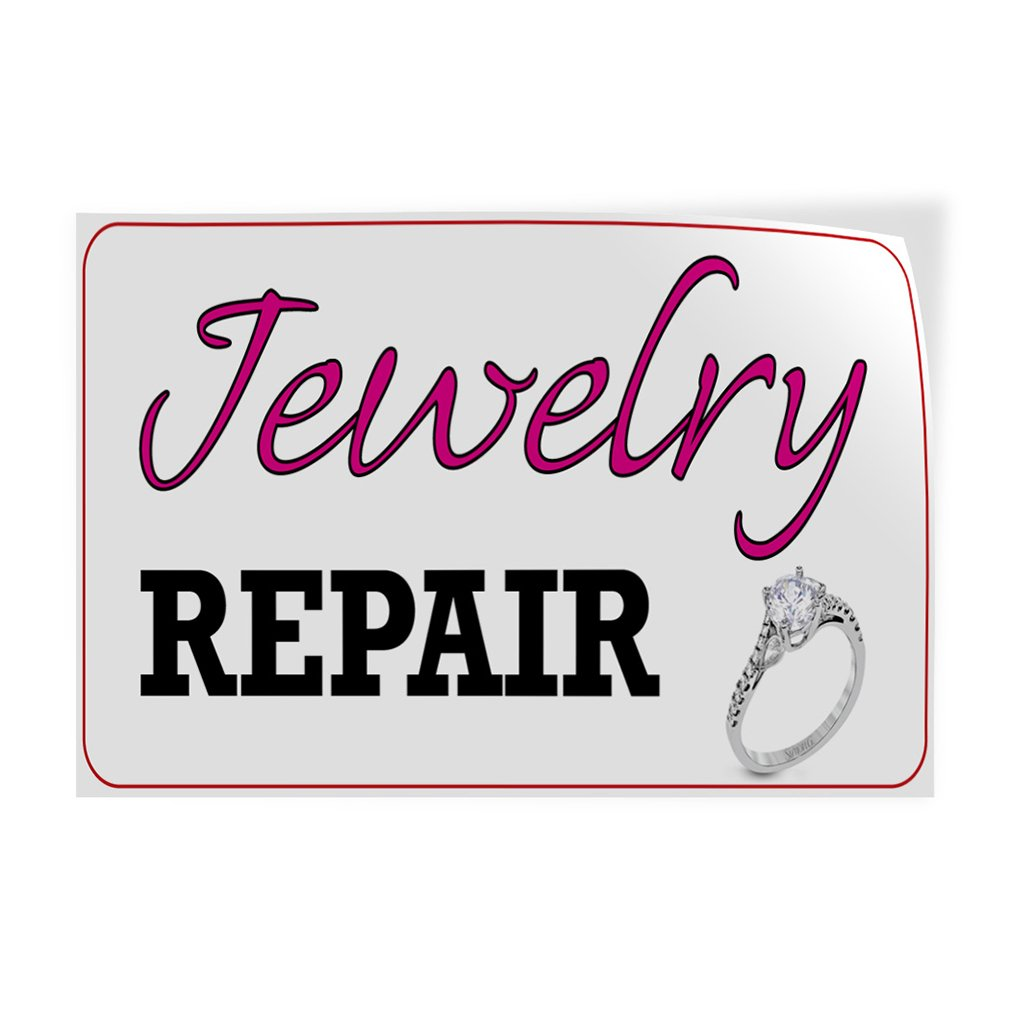 Set of 10 14inx10in Decal Sticker Multiple Sizes Jewelry Repair #1 Style C Business Repair jewelries Outdoor Store Sign White