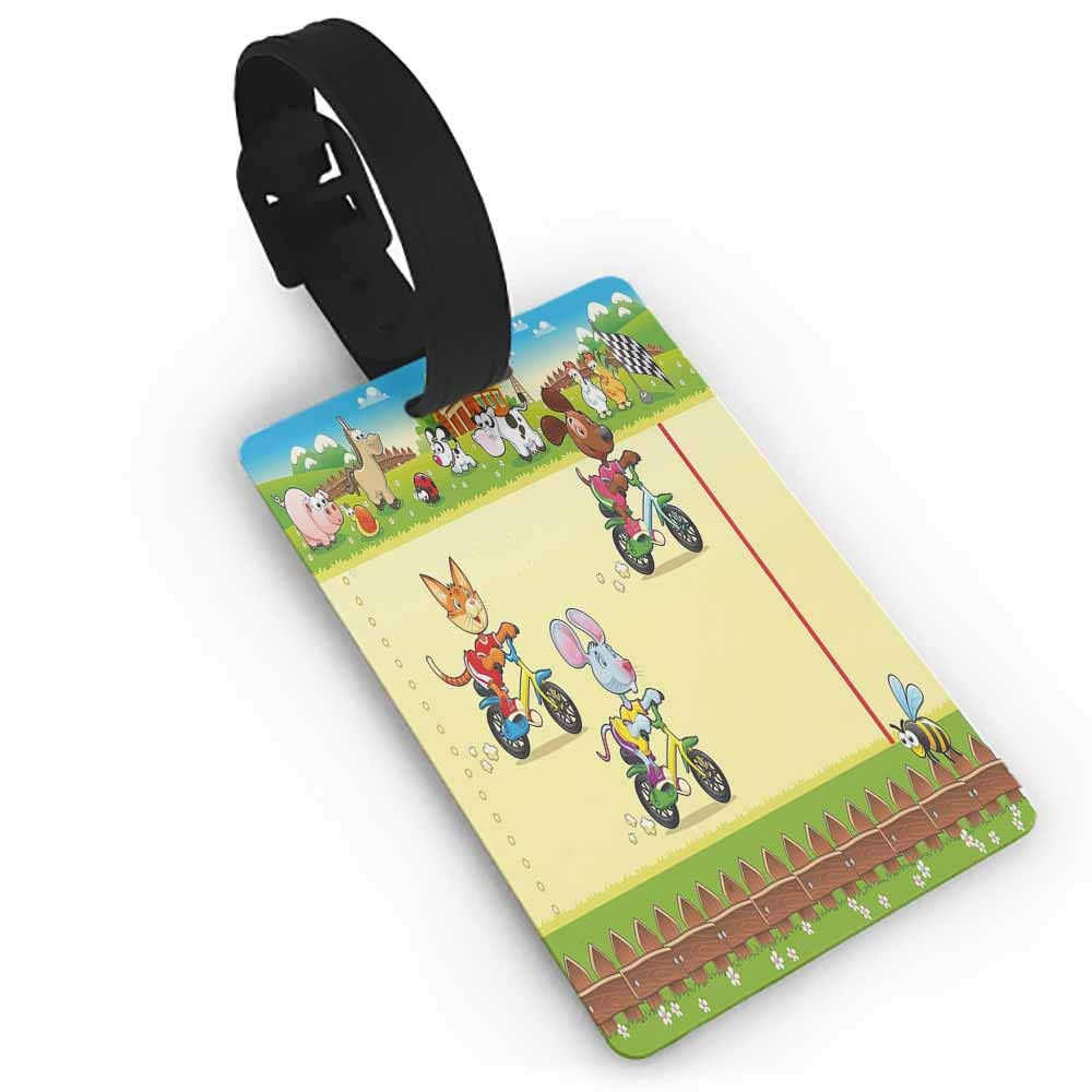 Small luggage tag,Kids,Racing Mouse Cat and Dog on the Bike in Farm with Animal Comic Caricature Illustration,Holders Zip Seal /& Steel Loops Thick Multicolor