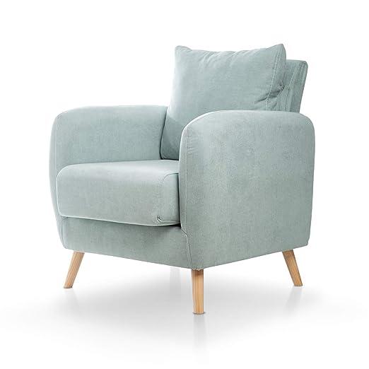 SuenosZzz- Sillones de Salon. butacas para Dormitorio Nórdica. Sillón tapizado Acualine Beige. Sillones de Oficina