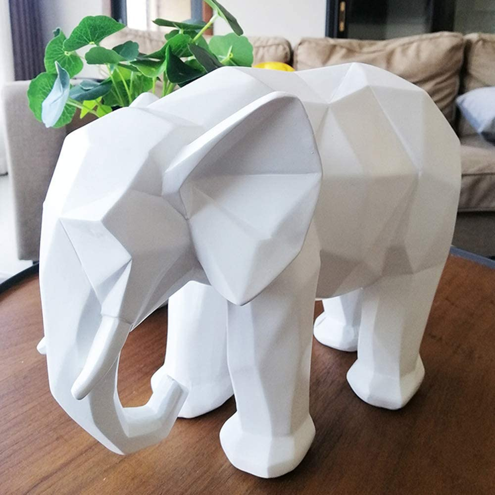 ASNOMY Nordic Modern Polyresin Elephant Figurine Home Decor, Originality Home Decoration Furnishing Animal Ornament Resin, Resin Statues Home Decor Ornament Figures