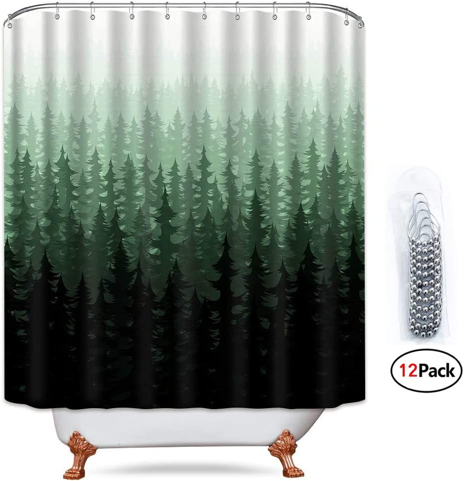 Riyidecor Green Forest Shower Curtain Landscape Pine Trees 12 Pack Metal Hooks Rustic Scenery Nature Fog Bathroom Fabric Set Polyester Waterproof 72x72 Inch