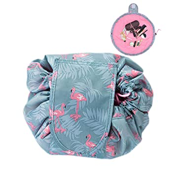 8fbe9f54789b LANUCN Lady Makeup Lazy Bag Large Capacity Drawstring Cosmetic Bag Portable  Travel Organizer Toiletry Pouch Storage Waterproof Lightweight (Flamingo)