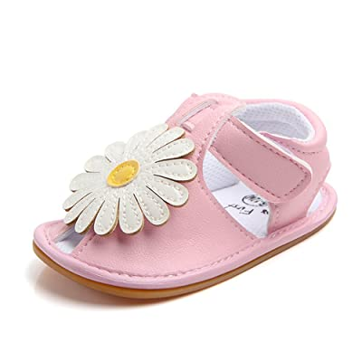 Lidiano Baby Toddler Sewing PU Leather Hook & Loop Cartoon Non-Slip Sandals (12-18 Months, Pink) : Baby