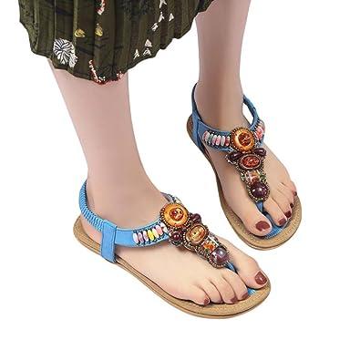 435c390db Elevin(TM) Women Flat Sandals Bohemia Peep-Toe Flower Beads Platform Shoes  Summer