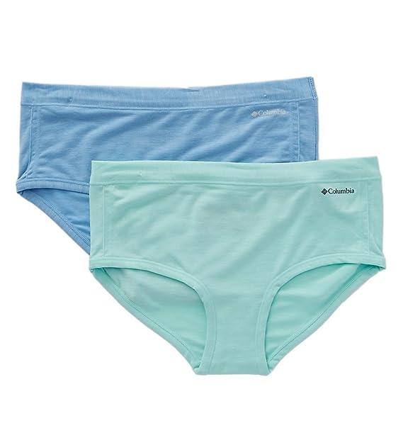 Columbia Calzoncillos de ajuste personal femenino de 2 pares de ropa interior azul / piscina