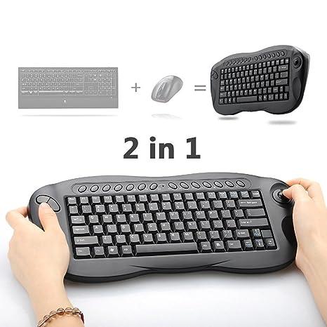 Mini teclado inalámbrico, Satisfacargo 2,4 gHz ratón inalámbrico de 2 in1 teclado ordenador