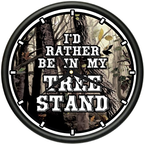 I'D RATHER BE IN MY TREE STAND Wall Clock hunting outdoors sport (Decor Hunting Wall Clock)
