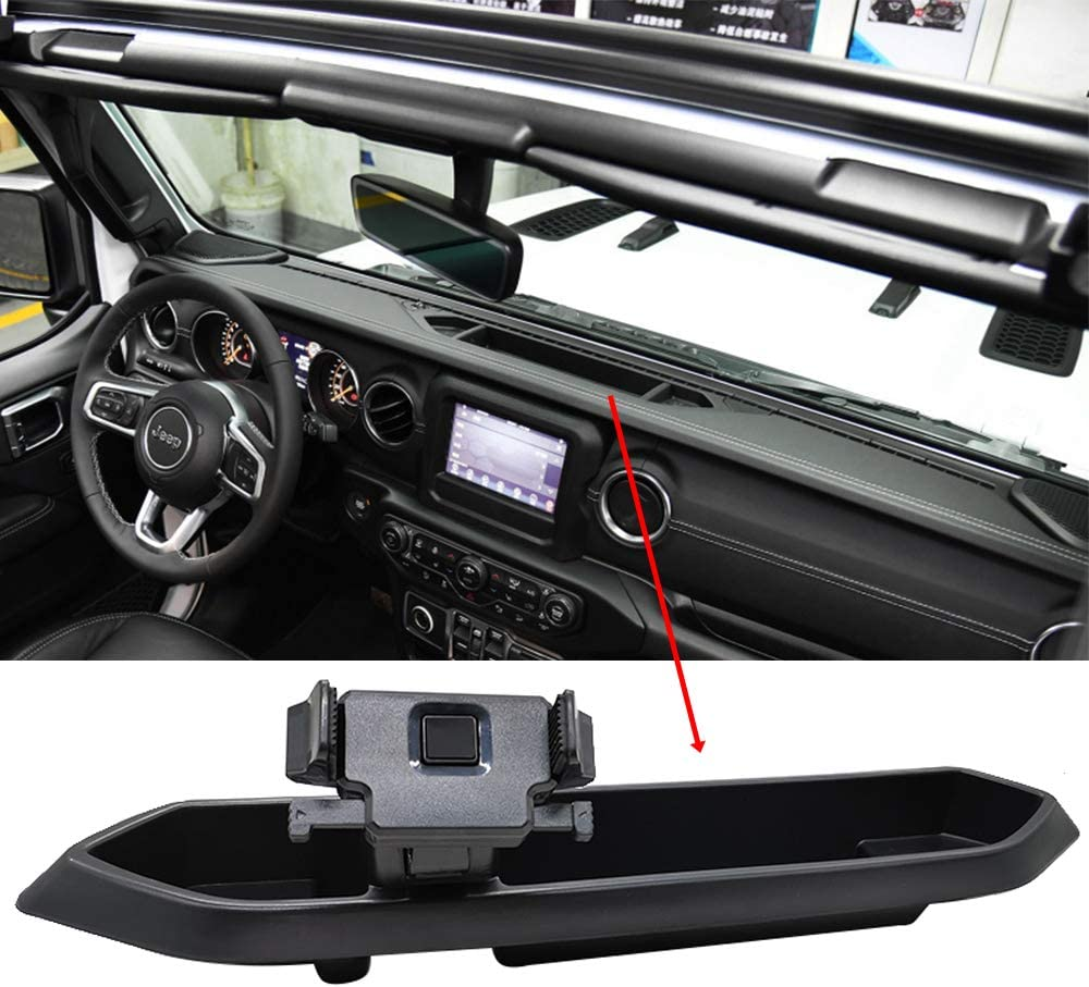 Dash Tray Mount Phone Holder with Storage Box for 2018-2019 Jeep Wrangler JL for Cell Phones and Mini Tablets Mount Stand Kit