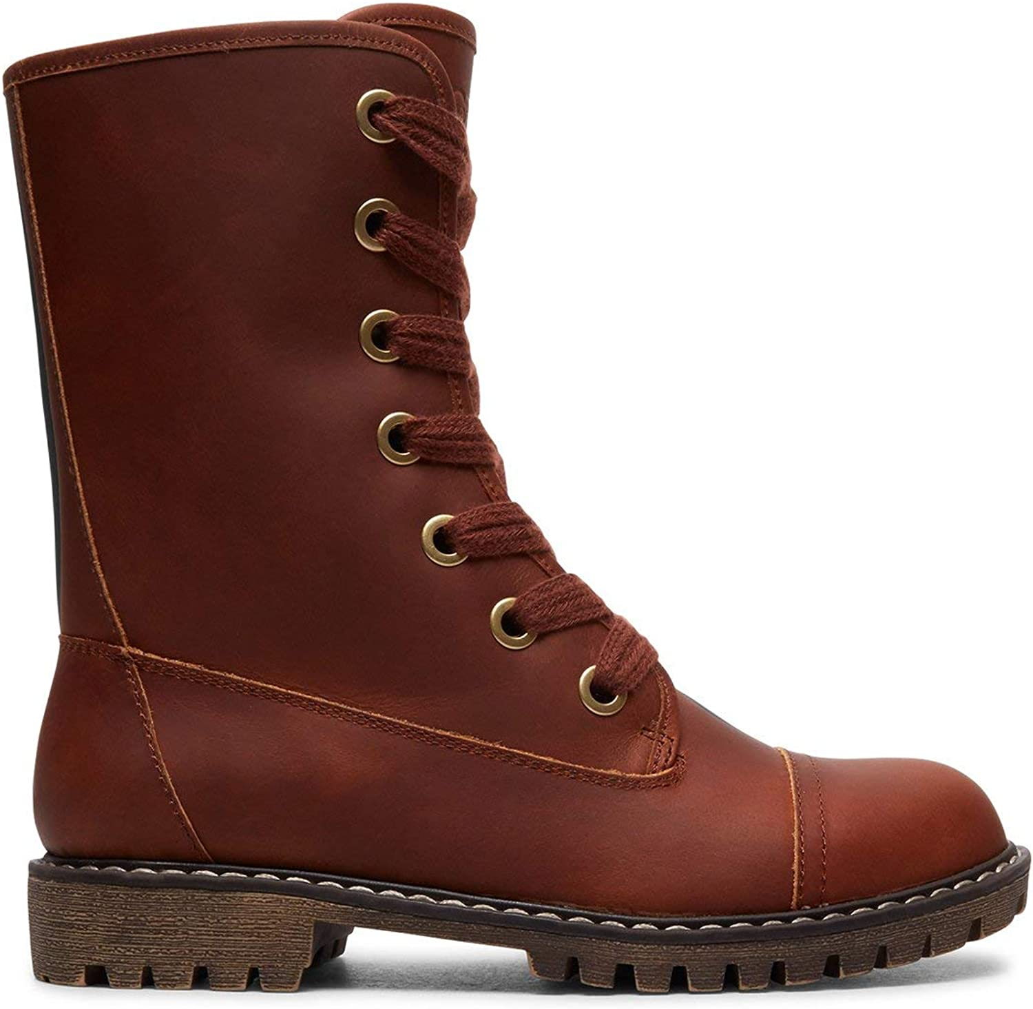Roxy Damen Vance - Lace-up Leather Boots for Women Schlupfstiefel Chocolate