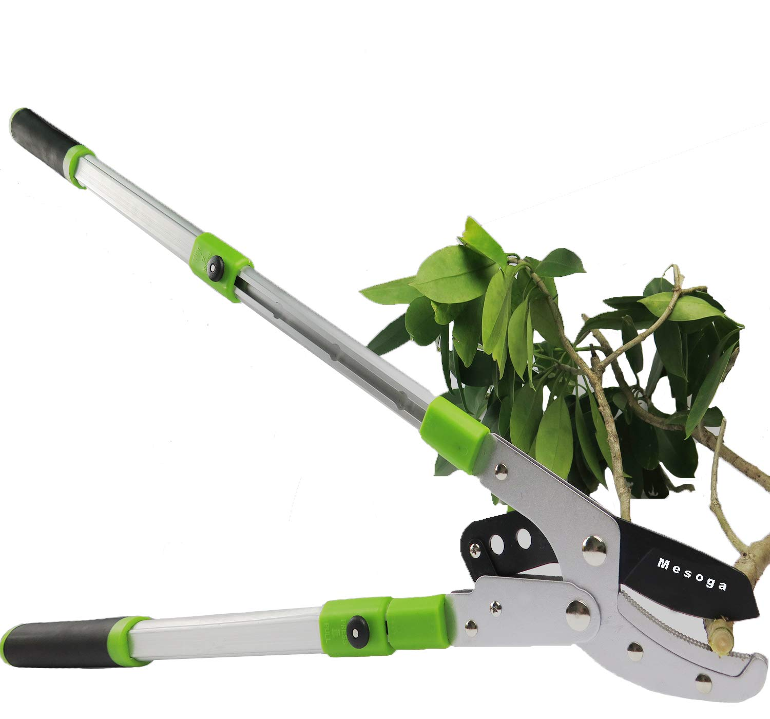 Mesoga Bypass Lopper 5 Sections Extendable Tree Trimming 26 - 41 Inch, Steel SK-5 Straight Anvil Blade Pruner with Leverage Compound Action Handles, 2 Inch Cutting Capacity by Mesoga