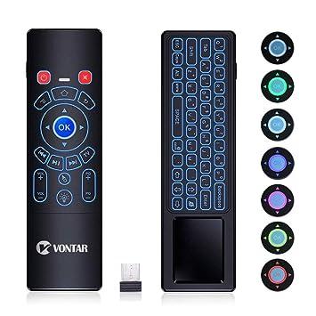 VONTAR Mando a distancia para ratón de aire, 2,4 GHz, mini teclado inalámbrico colorido retroiluminado ...
