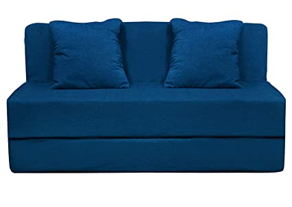 Aart Store High Density Foam Sofa cums Bed Furniture 4x6 Feet with 2  Cushions Perfect for Home/Office Décor Blue Color & Two Wall Corner Free