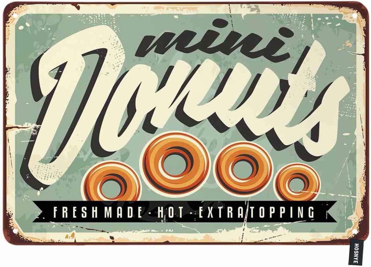Retro Metal Tin Signs Donuts Vintage Plate Bakery Shop Art Wall Decor Poster