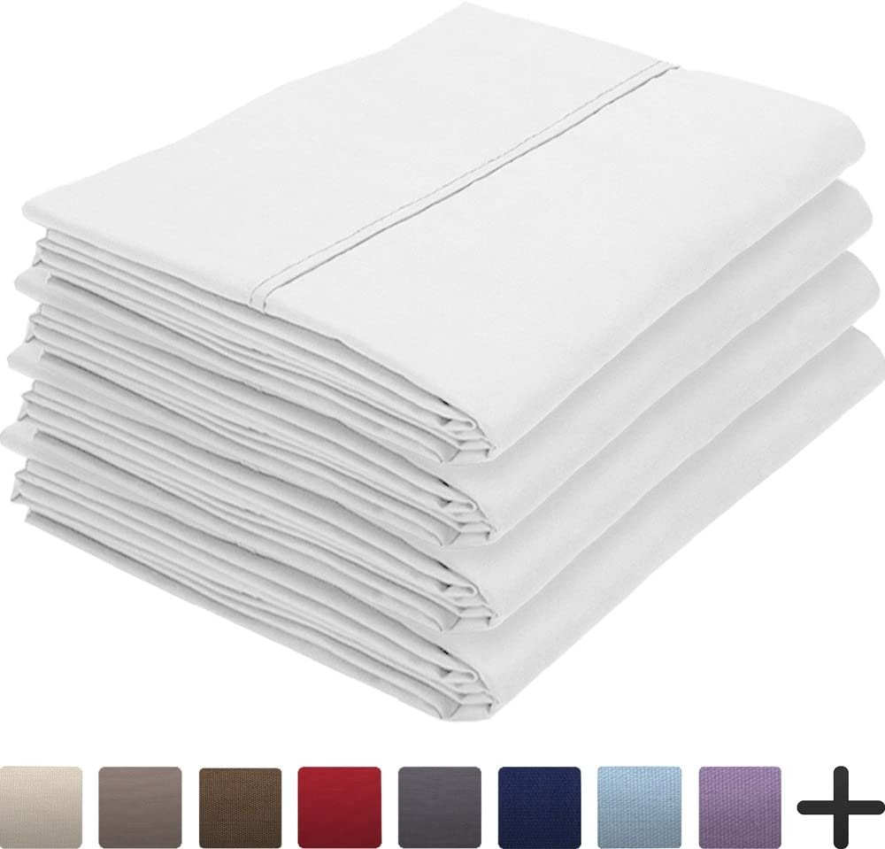 Bare Home 4 Pillowcases - Premium 1800 Ultra-Soft Collection - Bulk Pack - Double Brushed - Hypoallergenic - Wrinkle Resistant - Easy Care (King - 4 Pack, White)