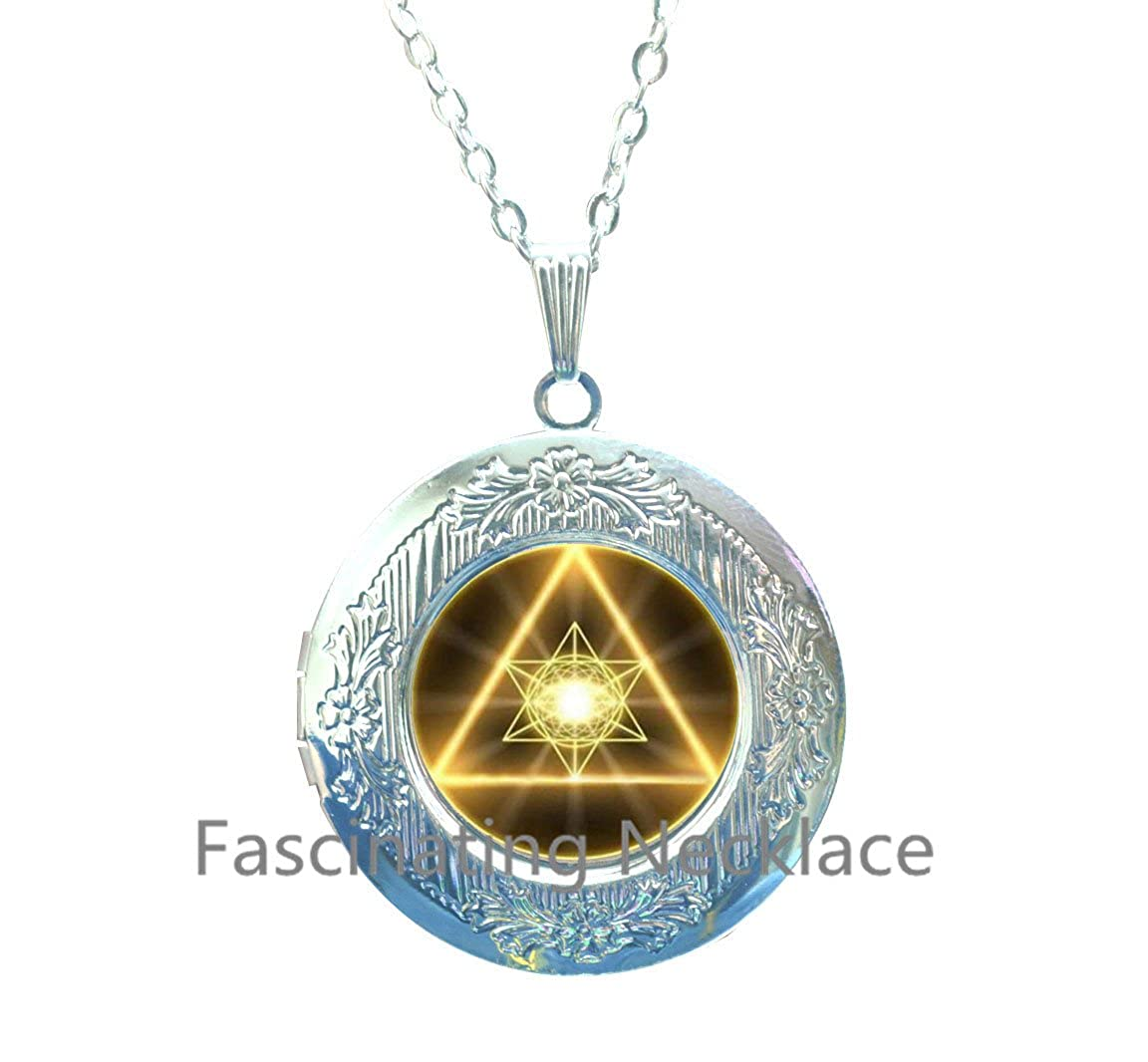 New Locket Necklace,Gold Sacred Geometry Cabochon Glass Tibet Silver Chain Locket Pendant Locket Necklace,AE0042