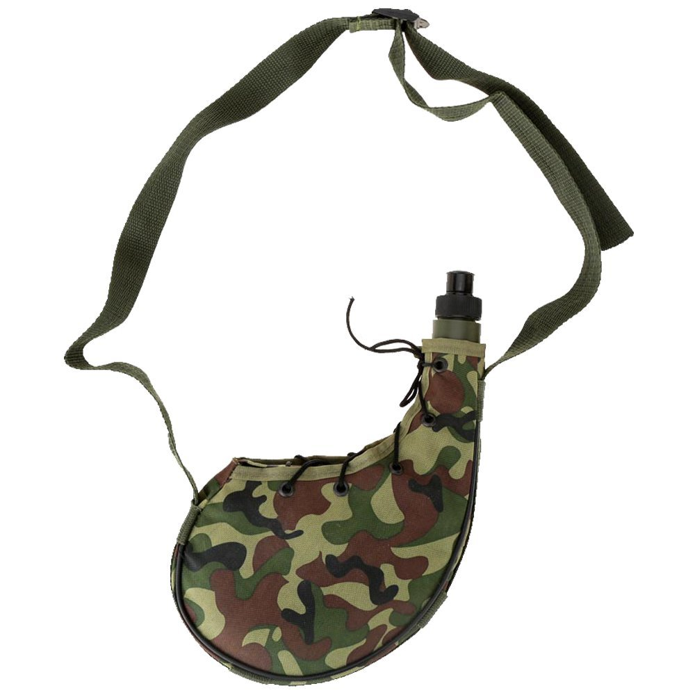 TukTek Classic Camo Canteen for Camping & Hiking Lightweight Durable Water Bottle Jug w/ Carry Strap