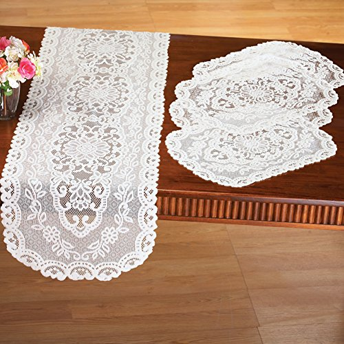 Kitchen Table Lace Runner & Placemats - 5 pc, Cream (Lace Over Collection)
