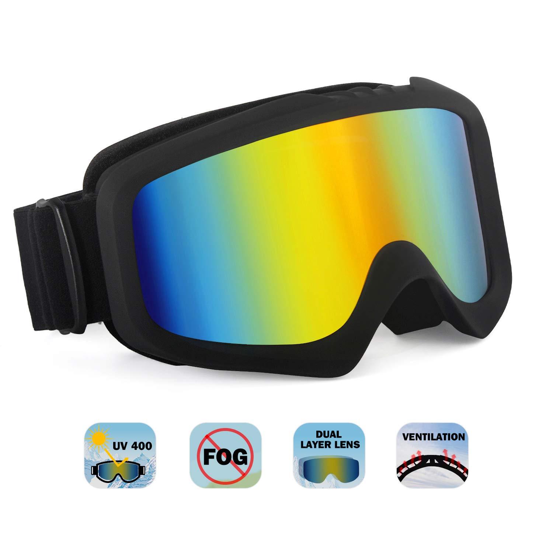 Unigear Lunettes de Ski, Lunettes de Snowboard Cylindrique Hyperboloïde  Anti-buée pour Adultes et Enfants, Ski Goggles Anti-UV400 Système de  Ventilation ... 3ed28d1a38d3