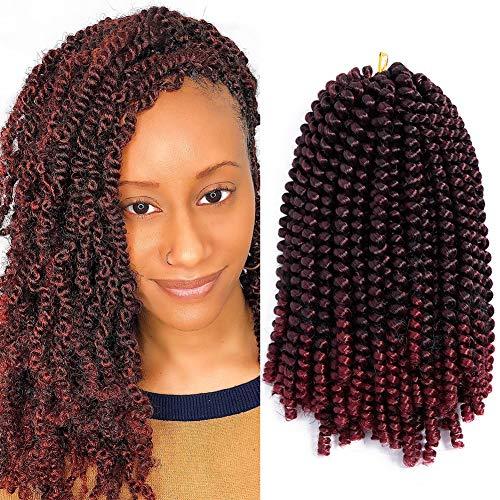 Christmas Day Aigemei Spring Twist Braiding Style, Fluffy Twist Hair, Nubian Twist Hair Black Color Hair Extension,one pack #1b/burgundy