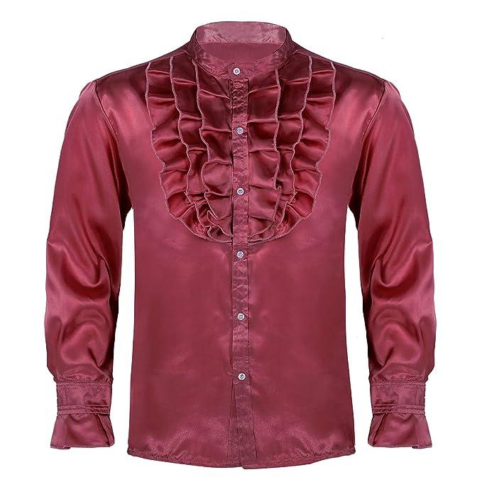 MSemis Camisas Danza Latina para Hombres Camisa Vintage de ...