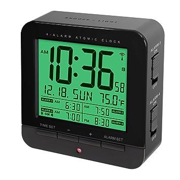 Cuatro Alarma Reloj Atómico con función de auto nocturna y Smart touch-activated Snooze &