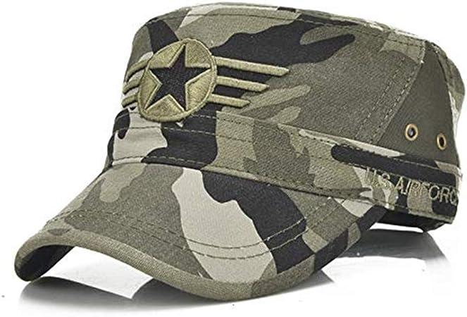 Aokshen - Gorra militar ajustable con parte superior plana, de algodón lavado, diseño de camuflaje, para hombre: Amazon.es: Hogar