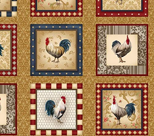 Rooster Inn Chicken Quilt Block Fabric Panel - 15 Blocks (Great for Quilted Book Kit, Quilting, Sewing, Craft Projects, Wall Hangings, Throw Pillows and More) 23