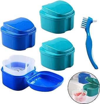 Caja de Dentadura - Caja de almacenamiento de dientes falsos Hatisan-Pro con contenedor de red colgante, caja de protección superior para boca con cepillo de limpieza (5 piezas): Amazon.es: Salud y cuidado