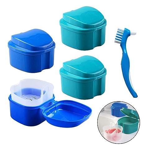 Caja de Dentadura - Caja de almacenamiento de dientes falsos Hatisan-Pro con contenedor de